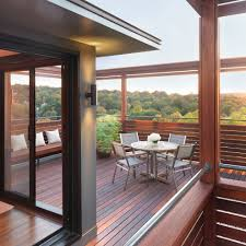 modern roof deck with natural wood trellis patio modern and