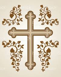 brown cross with floral design on beige background stock vector