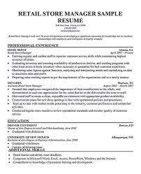 Example Retail Resume by Retail Manager Resume Template Sales Associate Cover Letter