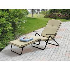 Outdoor Chaise Lounges Mainstays Sand Dune Outdoor Padded Folding Chaise Lounge Tan