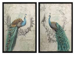 amazon com panache peacock art set of 2 wall decor stickers