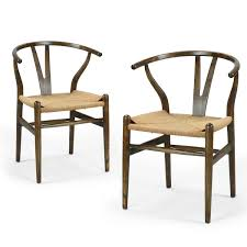 Set Of Two Dining Chairs Joveco Vintage Antique Wishbone Stylish Paper Seat Dining