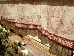 Cabin Valances French Rustic Toile Burlap Valance Ruffles Victorian Figures