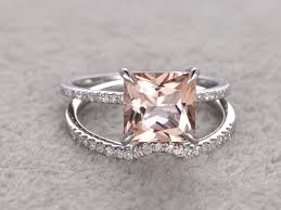 wedding set rings 2 5 to 3 carat princess cut morganite wedding set diamond bridal