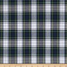 poly cotton plaid blue green white yellow discount