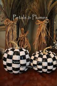 Where To Buy Fall Decorations - black and white check pumpkin hand painted fall halloween