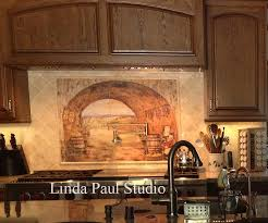 ceramic tile murals for kitchen backsplash impressive image of tuscan kitchen backsplash tile murals kitchen