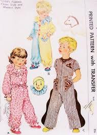 sweet childrens pajamas pattern mccall 1548 clown or western