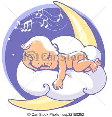 moon clipart baby sleeping on moon listen lullaby colorful