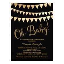 black gold baby shower invitations announcements zazzle
