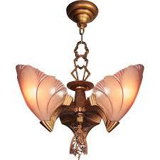 Art Deco Ceiling Fixtures Vintage Art Deco U0027princess Line U0027 Bat Wing 3 Light Glass Slip Shade