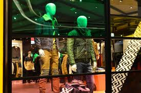 store decoration man fashion clothing shop window with mannequins christmas
