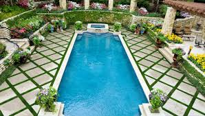 Pool Landscape Pictures by Using Outdoor Symmetry When Designing The Landscape