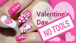 diy valentine u0027s day pink heart without any tools nail art