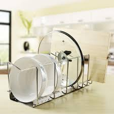 Kitchen Storage Cabinets For Pots And Pans Amazon Com Kes Stainless Steel Dish Rack Kitchen Pot Pan Lid