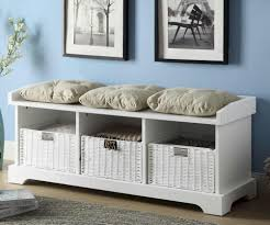 White Wooden Furniture White Wood Storage Bench Practical And Doubled Functional Storage