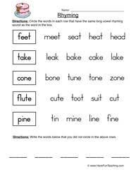 printable rhyming words rhyming worksheets teaching