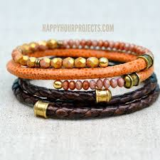 bangle bracelet beads images Diy leather bangle bracelet happy hour projects jpg