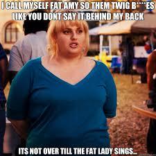 Fat Lady Meme - i call myself fat amy so them twig b es like you dont say it