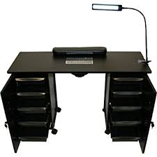manicure table with vent amazon com lcl beauty black steel vented double storage manicure