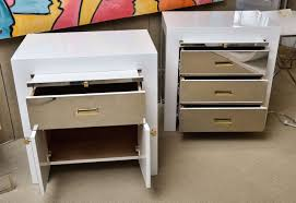 square white lacquer nightstand with mirror drawers and doors on