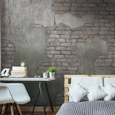 concrete with exposed brick wallpaper mural walls republic
