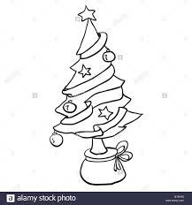simple black and white christmas tree cartoon stock vector art