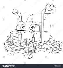 coloring page cartoon heavy semi truck stock vector 697486015