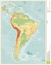 World Map Of South America by Retro Color Physical Map Of South America Stock Vector Image