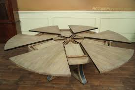 round dining room tables with self storing leaves round to round transitional gray oak jupe table with leaves
