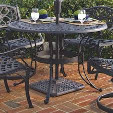 Patio Round Tables 48 Inch Round Black Metal Outdoor Patio Dining Table With Umbrella