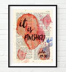 it is finished john 19 30 vintage bible page christian art print