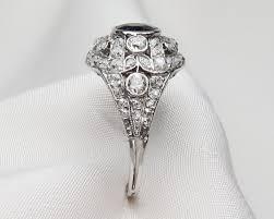 art deco diamond u0026 sapphire ring platinum filigree sapphire ring