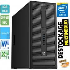 pc bureau i3 pc hp elitedesk 800g1 twr intel i3 4160 3 6ghz 8gb 500go