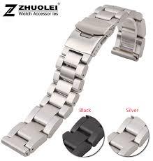 black leather strap bracelet images Watch band 22mm 24mm 26mm new men heavy silver black brushed jpg