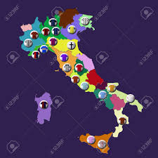Parma Italy Map by Map Of Italy With Football Clubs Location Marked By T Shirts
