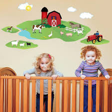 Animal Wall Decals For Nursery by Red Barn With Farm Animals Wall Decals U2013 Wall Dressed Up