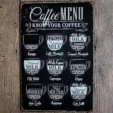 Home Wall Decor Pop Coffee Menu Vintage Tin Sign Bar Pub Shop Home Wall Decor