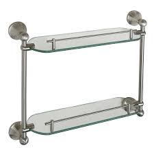 Brushed Nickel Bathroom Shelves Shop Barclay Kendall 2 Tier Brushed Nickel Glass Bathroom Shelf At