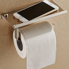 online shop stainless steel phone toilet paper holder with shelf