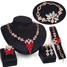 earrings necklace bracelet images Women gold plated crystal necklace bracelet ring earrings wedding jpg