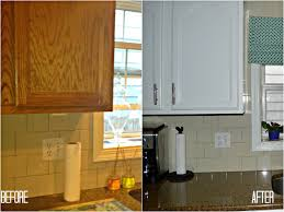 Refinish Kitchen Cabinets White Outstanding Painting Oak Kitchen Cabinets Before And After Also