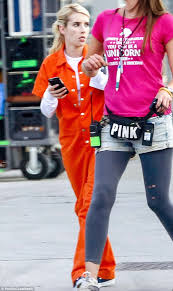 Prison Jumpsuit Emma Roberts Ditches The Designer Wear While Filming Scream Queens