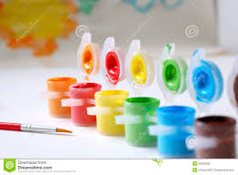 color paints and paint brush stock photography image 34662092