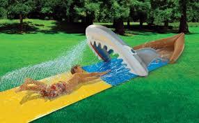 Backyard Slip N Slide Amazon Com Slip N U0027 Slide Mega Shark Toys U0026 Games