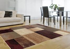 Rug Color Modern Brown Geometric Blocks Squares Area Rug Contemporary Multi