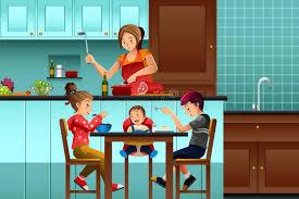 cuisiner avec ses enfants mère occupée dans la cuisine avec ses enfants illustration de