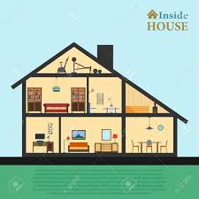house inside detailed modern house interior in cut flat style