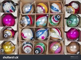 boxes vintage christmas ornaments 1960s stock photo 61453444