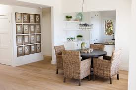 wicker dining chairs dining room traditional with beige floor